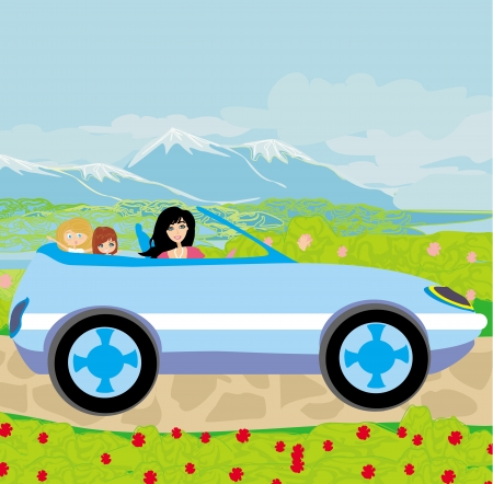 woman with children goes on vacation Vector