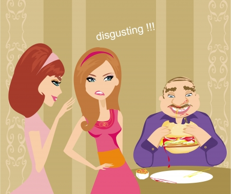 gossiping: girls gossiping about fat guy Illustration