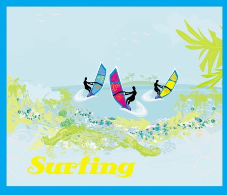 surfers on a sunny day, abstract illustration Vector