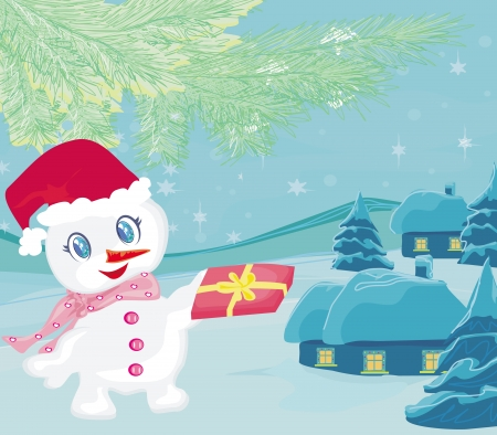 snowman giving gifts