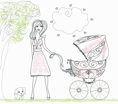 mother holding baby: beautiful woman pushing a stroller  Illustration