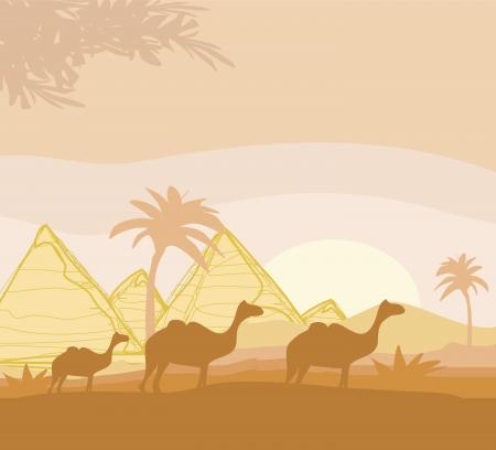 camel caravan in wild africa landscape illustration Vector