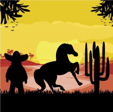 desert sunset: man in a sombrero and his horse in desert sunset Illustration