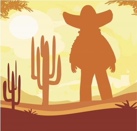 desert sunset: man in a sombrero and cactus plants in desert sunset Illustration