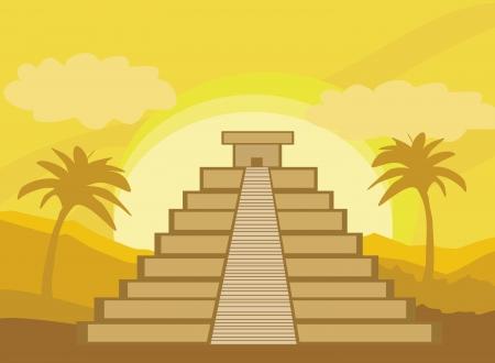 Maya piramide, Chichen-Itza, Mexico - vectorillustratie Stock Illustratie