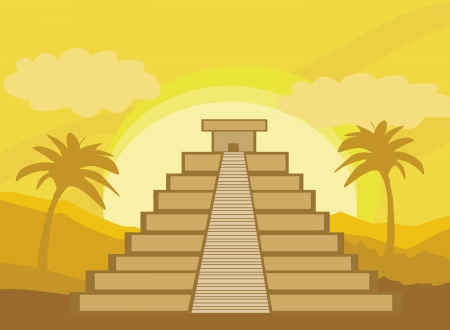 Maya Pyramid, Chichen-Itza, Mexico - vector illustration