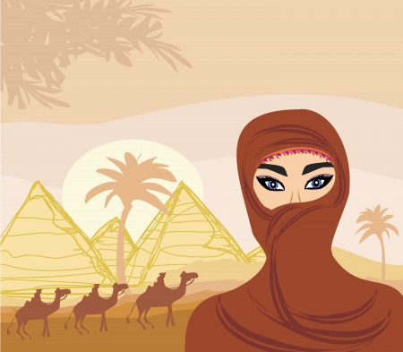 Arabian woman in the desert Vector