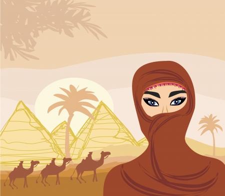 pretty young girl: Arabian woman in the desert