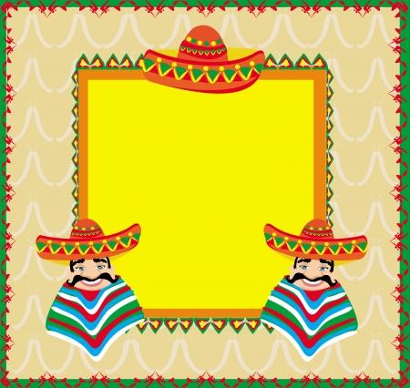 ソンブレロの男とメキシコ フレーム  イラスト・ベクター素材
