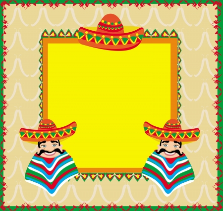 mexican cartoon: Mexican frame with man in sombrero