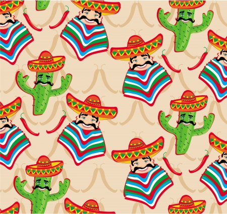 Mexican pattern with cactus, hat and chill illustration over background.  Vector