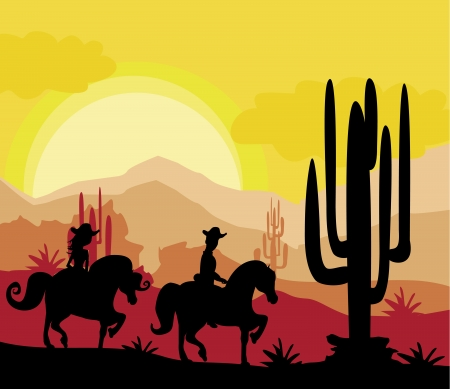 silhouette of a couple rides a horses during sunset Vector