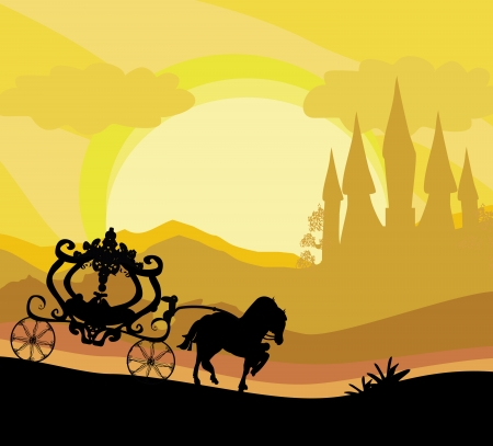 cartoon hadas: coche de caballos y un castillo medieval Vectores