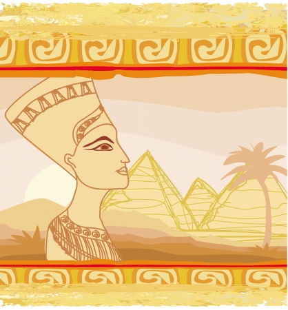 cleopatra:  old paper with Egyptian queen  Illustration