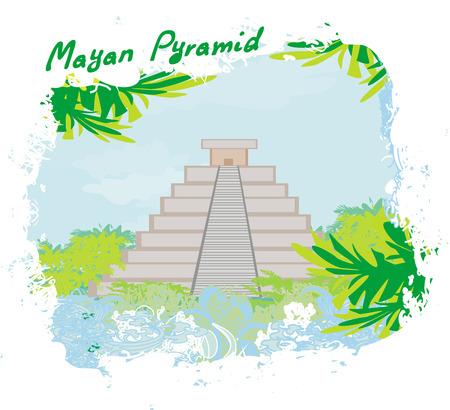 peruvian ethnicity: Mayan Pyramid, Chichen-Itza, Mexico - vector illustration
