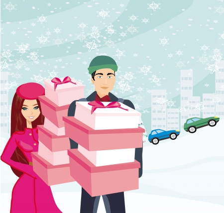 couple on Christmas shopping  Stock Vector - 24895003
