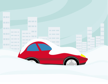 snowbank: Car Stuck In The Snow  Illustration
