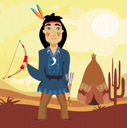 longbow: Indian holding a bow and arrows Illustration