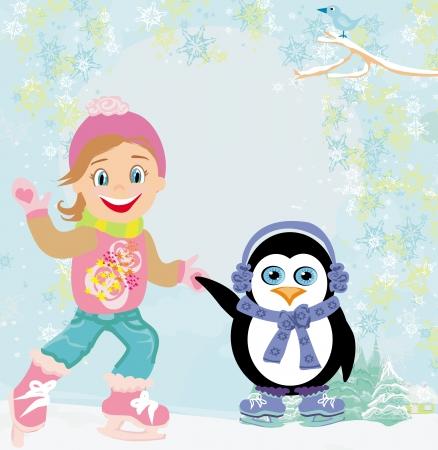 muffs: ragazza e pattinaggio su ghiaccio pinguino