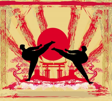 grappling: karate occupations - Grunge background