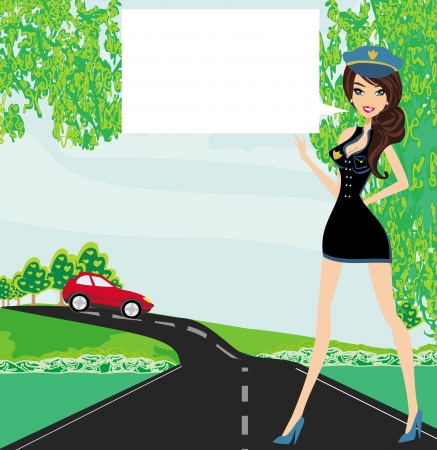 A beautiful police woman stops auto  Illustration