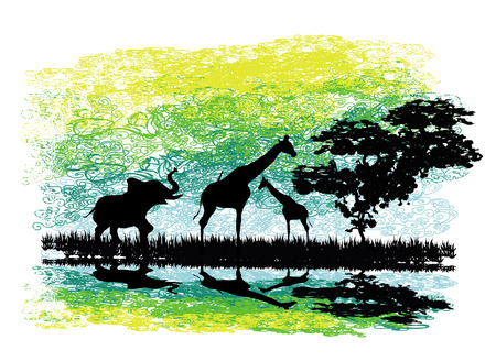 Safari in Africa silhouette of wild animals reflection in water Vector
