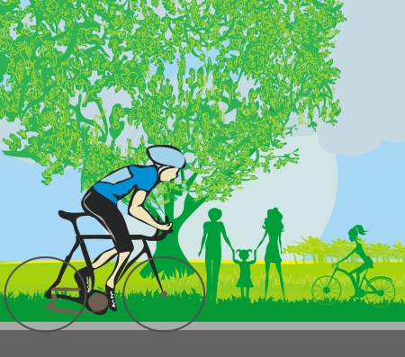 bicycler: man riding a bike in the park