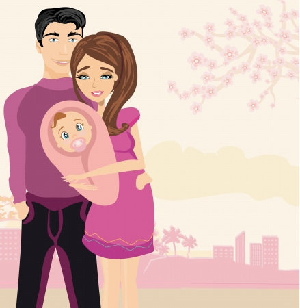 Glückliche junge Paare mit Neugeborenen. Vektorgrafik