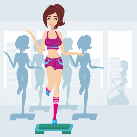 vector silhouettes of people exercising in a gym Vector