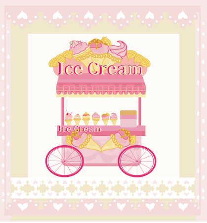 vendor ice cream mobile booth,  abstract card Vector