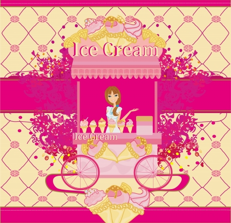 saleswoman: Abstract card with saleswoman of ice cream