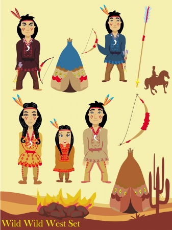 Cartoon characters indian, wild west collection  Vector