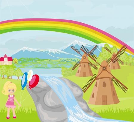 ochtend dauw: lente landschap met molens en een klein meisje