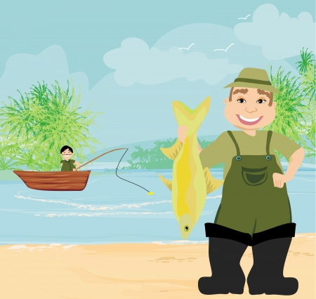 fisherman and fishing boat  Vector