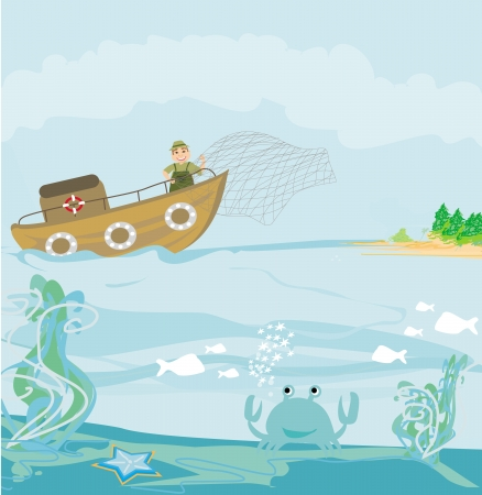 Illustration of a Fisherman at Work  Vector