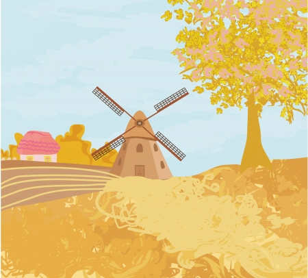 Landscape with windmill in autumn sunny day Vector