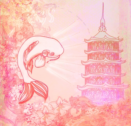 japanese koi and ancient building background Stock Photo - 25086147