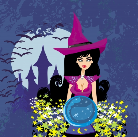 parapsychology: beautiful witch with crystal ball. Illustration