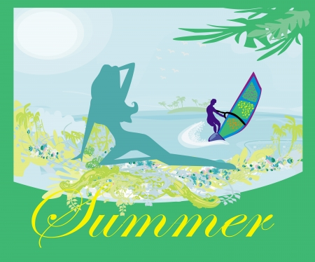 surfer and sexy girl - abstract banner