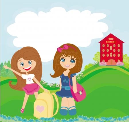 happy girls go to school Vector