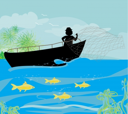 fisherman and fishing boat Illustration