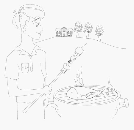 boy barbecuing meat Vector