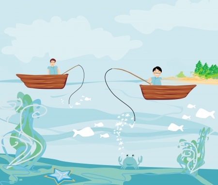 fishermen and fishing boat Stock Vector - 25204023