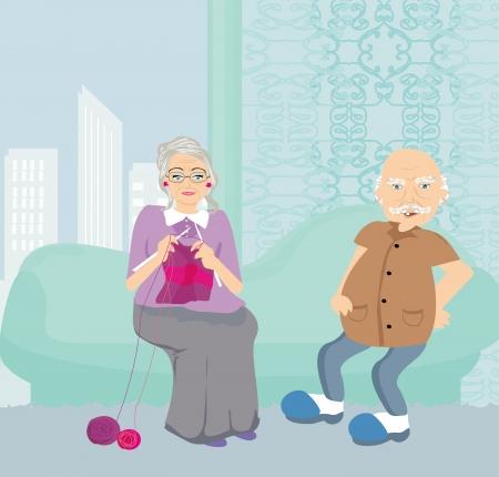 happy older couple: Senior couple resting at home Illustration