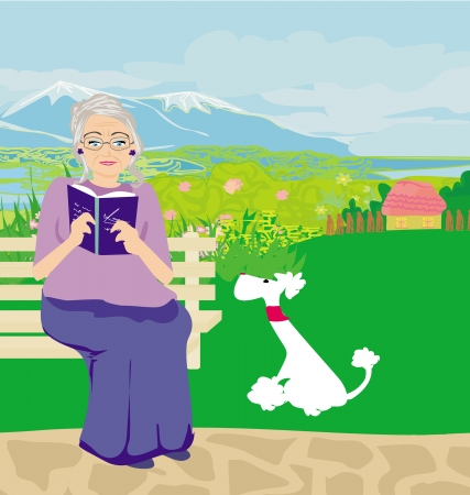women glasses: old lady with dog in the park