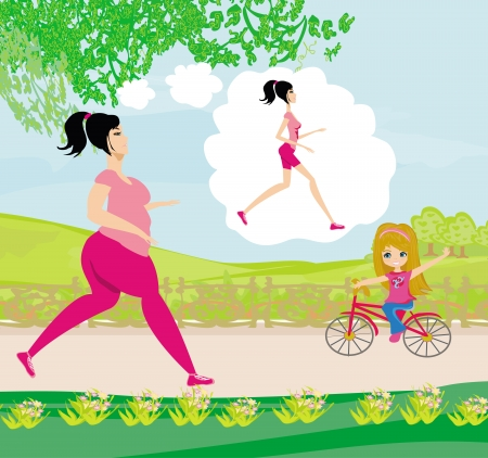 cellulite: Young woman jogging,fat girl dreams to be a skinny girl  Illustration