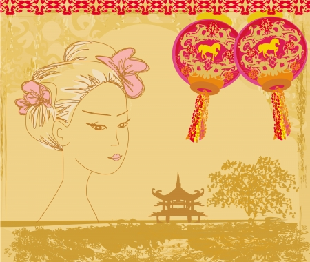 abstract Asian Landscape and beautiful geisha  Vector