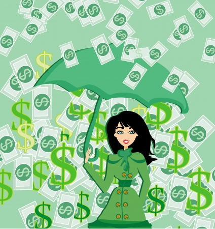 salaries: Happy woman holding an umbrella in a money rain  Illustration