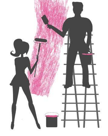 unfinished: siluetas de dos personas pintando una pared en blanco