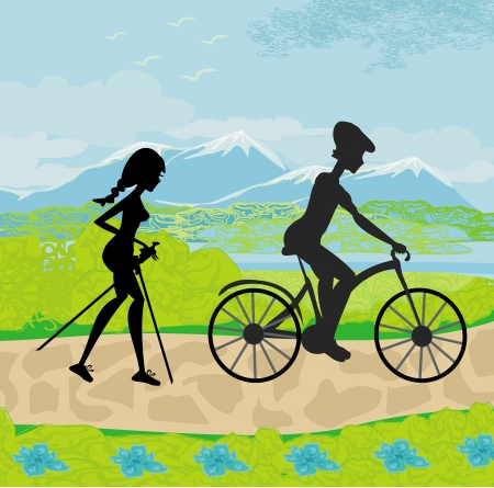 actively: actively spend the day - Nordic walking and riding a bike  Illustration